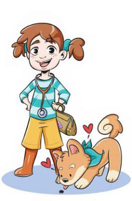 Stella felice con cane - D3Bse Junior